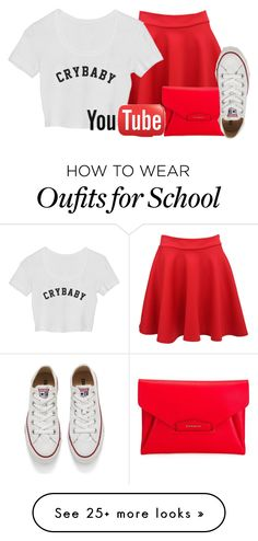 """School// #4"" by luluzilla676 on Polyvore featuring Pilot, Givenchy and Converse"
