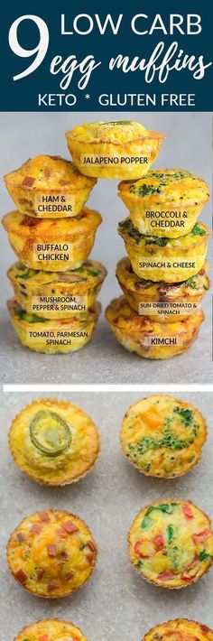 9 Low Carb & Keto Breakfast Egg Muffin Cups - the perfect healthy & easy protein packed make ahead breakfast for on the go. Best of all, convenient for busy mornings, weekend or Easter holiday brunch! Delicious & simple to customize - mix & match with any leftover vegetables or meat from fridge. Broccoli & Cheddar Cheese, Buffalo Chicken, Ham & Cheddar Cheese, Jalapeno Popper, Kimchi, Mushroom, Pepper and Spinach, Sun-Dried Tomato & Spinach, Tomato, Spinach or Kale Basil & Parmesan. #keto…