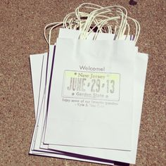 Custom made New Jersey wedding welcome bags designed and hand printed onto each bag by wright4design sold on Etsy.com, $3.75 #bachelorette #newjersey #jerseyshore #giftbag #jersey #bacheloretteparty #etsy #DIY #bride #weddingplanner #gift #bag #customdesign #weddingwelcomebag #instawedding #diy #diywedding #weddingidea #weddinggift #weddingfavor #giftbag #Etsywedding #destinationwedding #instabride #instawedding  http://www.etsy.com/people/wright4design