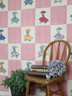 """Delightful! Very Very Busy Sunbonnet Sue in Feedsack Prints QUILT 82x60"""""""