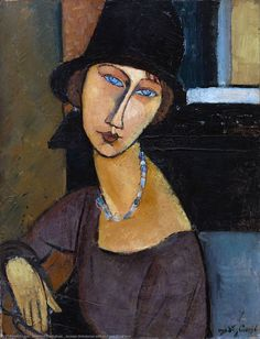 Jeanne Hebuterne with Hat and Necklace, Oil On Canvas by Amedeo Modigliani (1884-1920, Italy)