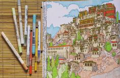 """""""Coloring the incredibility and resembling the authenticity of India. @stevedmcdonald #stevemcdonald #fantasticcities #coloringforadults #coloringbook…"""""""