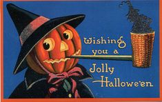 cross stitch pattern from vintage halloween card Jack O Lantern with pipe