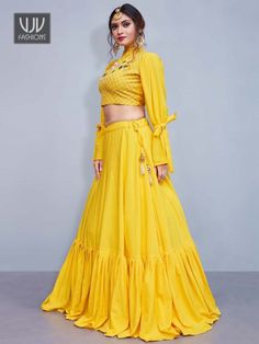 Buy Lovely Crop Top Lehenga for Haldi Function Wear with Resham and Zari Work. Yellow Bell Sleeve Lehenga Choli is Bell Sleeve with High Neck Lehenga Choli. Garba Dress, Lehnga Dress, Lehenga Skirt, Saree Blouse, Indian Lehenga, Red Lehenga, Yellow Lehenga, Anarkali, Banarasi Lehenga