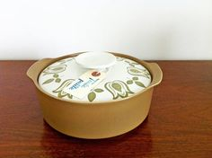 Retro 1960's / 1970's J & G Meakin Maidstone 'Tulip Time' Casserole Dish Tureen With Lid, Olive Green and Brown Casserole Dish, Mid Century