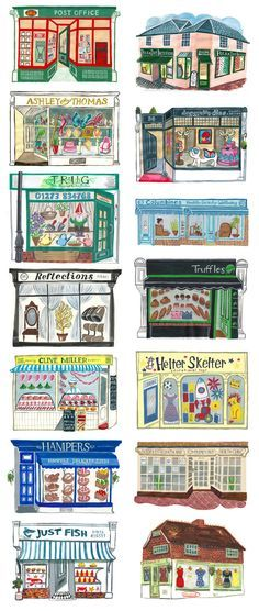 Students create a store front, perspective doors, windows, angles, design, font, decor. Hurstpierpoint - Sarah Tanat-Jones