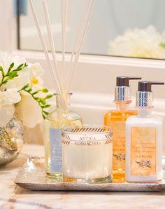 fragrance set on tray for bathroom
