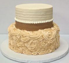 2 Tier Cake - burlap #fondant around the top tier and #rosette finish on the bottom tier! #Elegant!
