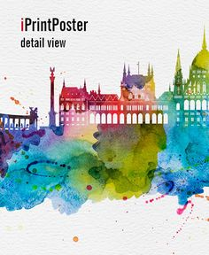 Budapest print Budapest watercolor Budapest by iPrintPoster
