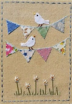 Use wedding bunting colours and Irish wedding verseThese mini quilts look best with TEXTURED fabric, not smooth.Beautiful design Source by takhtyamova Freehand Machine Embroidery, Free Motion Embroidery, Embroidery Applique, Embroidery Stitches, Wedding Embroidery, Embroidery Jewelry, Machine Embroidery Designs, Fabric Cards, Fabric Postcards