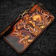 c8ef9d418aacc Handmade Leather Tooled Long Chinese Dragon Mens Chain Biker Wallet Cool  Leather Wallet With Chain Wallets for Men