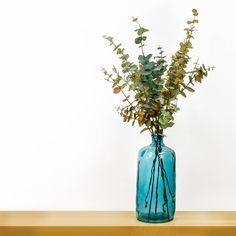 Eucalyptus sprays in blue vase design. Buy them from TreeLocate #decorative #artificial #flower