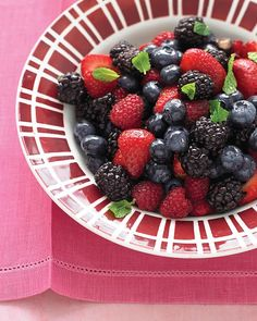 "See the ""Mixed Berry Salad with Mint"" in our Quick Fruit Dessert Recipes gallery Mint Recipes, Fruit Recipes, Dessert Recipes, Fruit Dessert, Blackberry Recipes, Dessert Salads, Dessert Table, Blue Desserts, Summer Desserts"