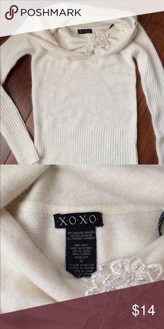 NWOT XOXO White Angora Turtleneck Sweater Size S Brand new, super soft white angora/nylon blend. Wide neck, with applique and bead detail. Runs true to size. XOXO Sweaters Cowl & Turtlenecks