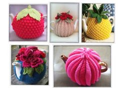 i know these are knitted rather than crochet, but they still inspire me Tea Cozy, Coffee Cozy, Knitted Tea Cosies, Tea Blog, Loose Leaf Tea, My Tea, Pattern Mixing, Tea Mugs, Knit Patterns