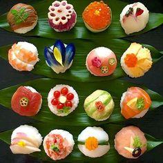 Temari Sushi, Sushi Co, Japanese Food Sushi, Valentines Day Food, Food Decoration, Edible Art, Cute Food, Food Presentation, Food Plating