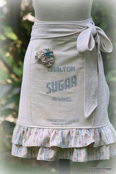 cutest grain sack apron with a ruffle - ahhh!