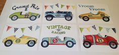 6 Vintage race car roadster nursery kids wall art for by terezief, $28.00
