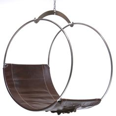 For Sale on - This contemporary adult swing is a specialty chair by Egg Designs, it has a stainless steel frame and yolk with leather upholstery. The swing chair can Contemporary Bar Stools, Leather Dining Room Chairs, Swing Seat, Egg Designs, Lounge Seating, Swinging Chair, Steel Chain, Galvanized Steel, Distressed Leather