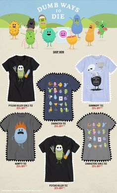 """Hot Topic """"DUMB WAYS TO DIE"""" T-Shirts - SHOP NOW"""