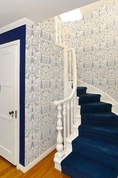Nethercote (Blue) in a custom larger scale created just for this gorgeous stairway. Interior Decorating, Interior Design, Stairways, My Dream Home, Future House, Interior And Exterior, Beautiful Homes, Decoration, House Plans