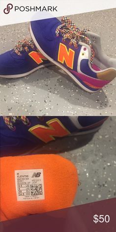 New Balance 574 Gradeschool 6.5 (8.5 women) colbalt blue, orange, pink. only worn twice, great condition New Balance Shoes Sneakers