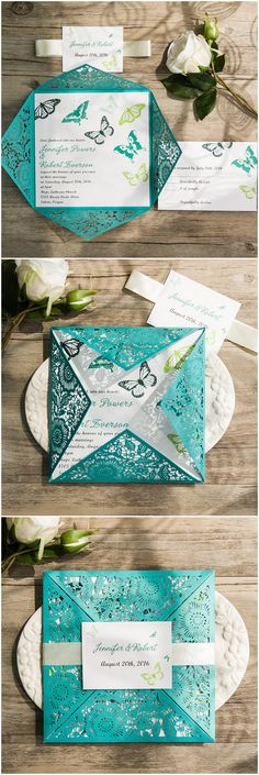 shades of blue and green butterfly themed laser cut wedding invitations ewws117