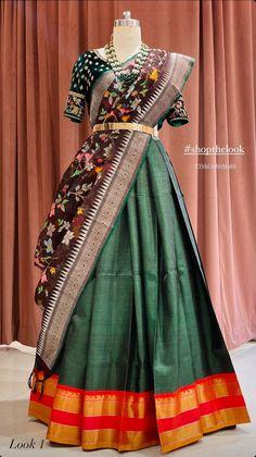 Baby Lehenga, Half Saree Lehenga, Lehenga Saree Design, Kids Lehenga, Lehnga Dress, Lehenga Style, Lehenga Blouse, Sarees, Saree Kuchu Designs