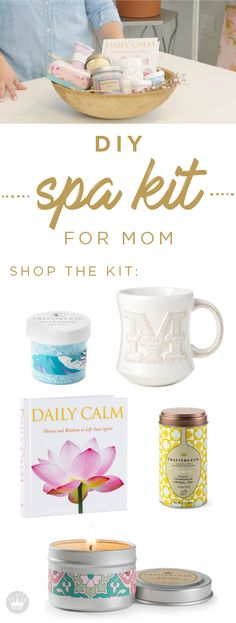 This Mother's Day,  create a spa day at home. Put together a basket full of her favorite bath and body products from Hallmark. Start the day with some tea in a cute initial mug, and light a candle to put a sweet aroma in the air. Add the Daily Calm gift book and some hand cream to top it off.