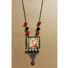 Soldered Virgin Mother Necklace with Vintage Rosary by ArtByDebora