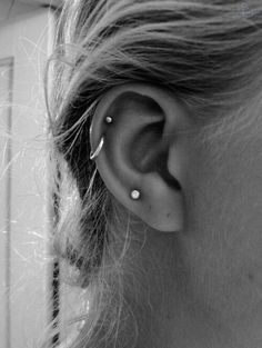 I like the stud earring and the loop earring in the cartilage