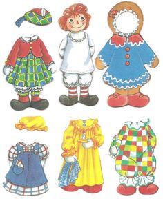 Raggedy Ann & Raggedy Andy are so colorful that they just seem perfect for Christmas. These cloth paper dolls are from the Paper Dolls Clothing, Doll Clothes, Paper Toys, Paper Crafts, Paper Doll House, Paper Dolls Printable, Save On Crafts, Raggedy Ann And Andy, Vintage Paper Dolls