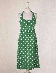 Boden Jersey Halterneck Dress in Asparagus Polka Dot