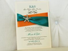 Invitation 777: Ivory Pearl, Cream Smooth, Passions, High Tower, Tangerine Ribbon, Peacock Ribbon, Brooch/Buckle A10
