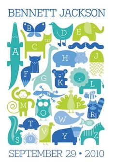 Personalized animal alphabet print by Shop Ampersand via Etsy.