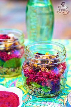 Layered Quinoa Salad With Beet Vinaigrette | 18 Mason Jar Salads That Make Perfect Healthy Lunches