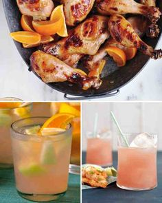 Rose Sangria with melons and grapefruit