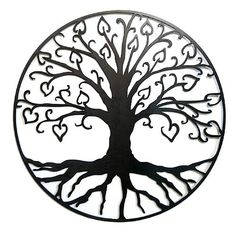 "Handcrafted Tree of Life with Hearts Outdoor Wall Art: Black Finish.   The beloved symbol of the Tree of Life is adorned with sprouting heart-shaped leaves, a contemporary portrayal of family and affection that livens up any outdoor wall! Made in North Carolina, the 24"" wall hanging is cut from steel and is available in two finishes: rust and black."
