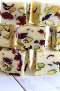 Mildly sweet, beautifully festive and bursting with the fresh flavor of citrus. Simple Orange Cranberry Pistachio Fudge is a wonderful addition to your Holiday table.