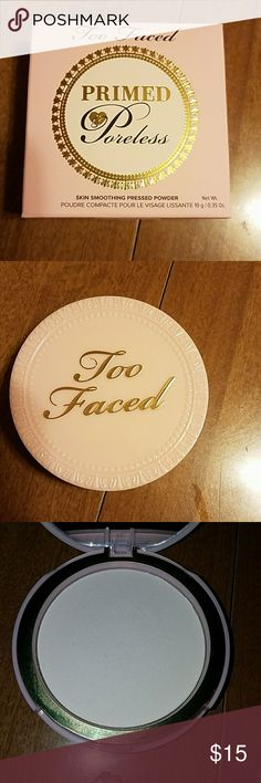 Too faced primed and poreless powder Too faced primed and poreless pressed powder. Used 3 times. Never used the puff that came with it. Too faced  Makeup Face Powder