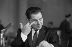 Jimmy Hoffa gives the finger to inquisitor Bobby Kennedy at a hearing