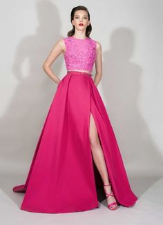Zuhair Murad RTW S 16: Beautiful, gorgeous, pink! Gorgeous bead work on the pink top. I love the high slit on the skirt.