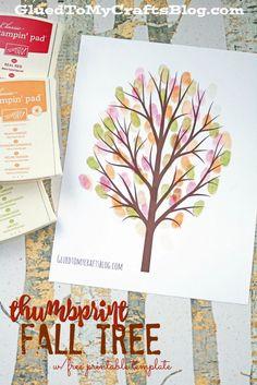 Thumbprint Fall Tree Kid Craft Idea w/free printable template