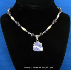 Designer Necklace By Lisa Sperling Featuring a Purple Mexican Opal