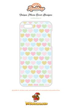 Filled Love Hearts Pattern on Light Blue phone case available for all phone makes and models and can be personalised and purchased from www.mrnutcase.com