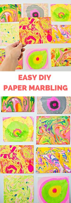 Easy DIY Paper Marbling At Home. This colorful marbling art project is fun for kids and adults. Get the tips and materials to try traditional Japanese paper marbling at home #paperart #papermarbling #marblingpaper #kidsart #kidscraft