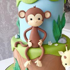 Jungle Birthday Cakes, Animal Birthday Cakes, Jungle Cake, Monkey Birthday, Cake Topper Tutorial, Fondant Tutorial, Fondant Animals Tutorial, Fondant Cake Toppers, Fondant Cakes