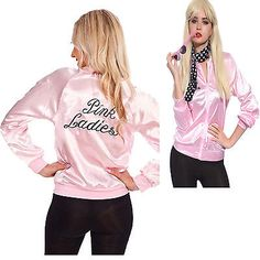 Halloween Pink Lady Jacket  Retro Grease Women  Costume Hen Party Team clothing