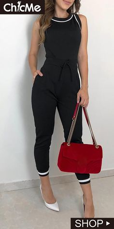 Office Style Stripe Patchwork Black Jumpsuit Women Rompers Tie Waist Night Club Overalls Casual Outfit - Black, S - & Trend Fashion, Fashion Ideas, Fashion Lookbook, Fashion Styles, Casual Jumpsuit, Black Jumpsuit, Jumpsuit Dress, Bandeau Jumpsuit, Denim Playsuit