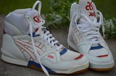RARE Vintage Asics Mens Basketball High Top Shoes Size 10 White Red and Blue   eBay